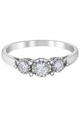 10K White Gold Three Stone (0.29ct) Diamond Ring