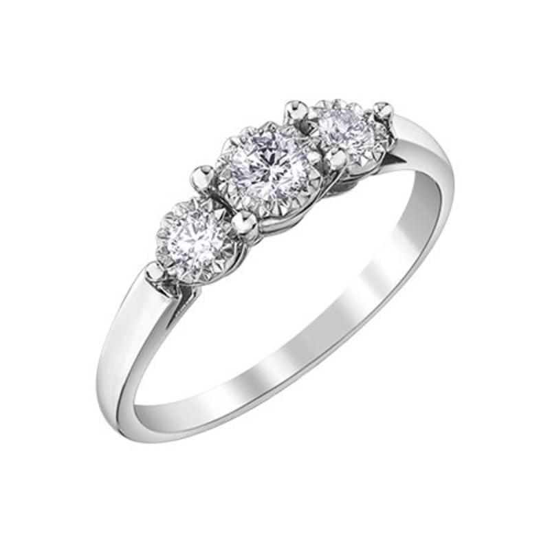 10K White Gold (0.29ct) Diamond Three Stone Illusion Setting Engagement Ring