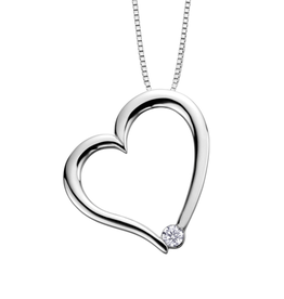 I am Canadian 10K White Gold (0.03ct) Canadian Diamond Heart Pendant