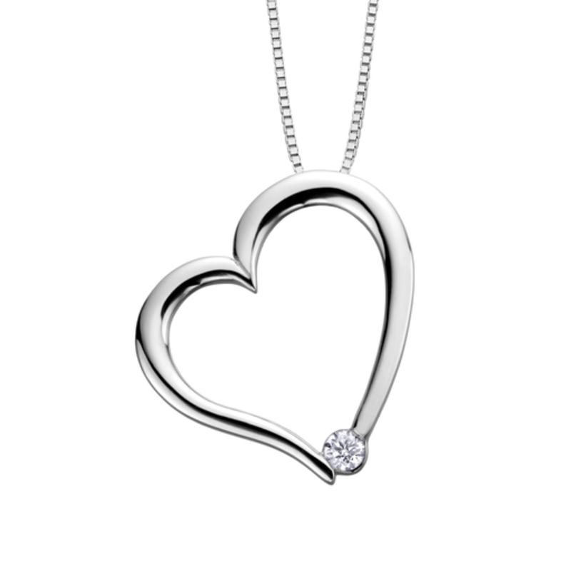 I am Canadian 10K White Gold (0.03ct) Canadian Diamond Heart Pendant