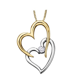 I am Canadian 10K Yellow & White Gold (0.04ct) Canadian Double Heart Pendant