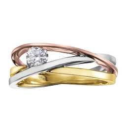 I am Canadian 10K Yellow, White & Rose Gold (0.21ct) Canadian Diamond Comtemporary Ring