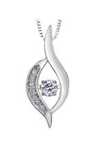 White Gold (0.10cttw) Dancing Diamond Pendant