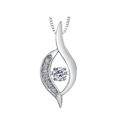White Gold (0.10cttw) Dancing Diamond Pendant