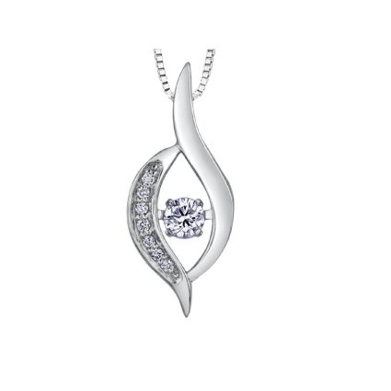 10K White Gold (0.10ct) Canadian Dancing Diamond Pendant