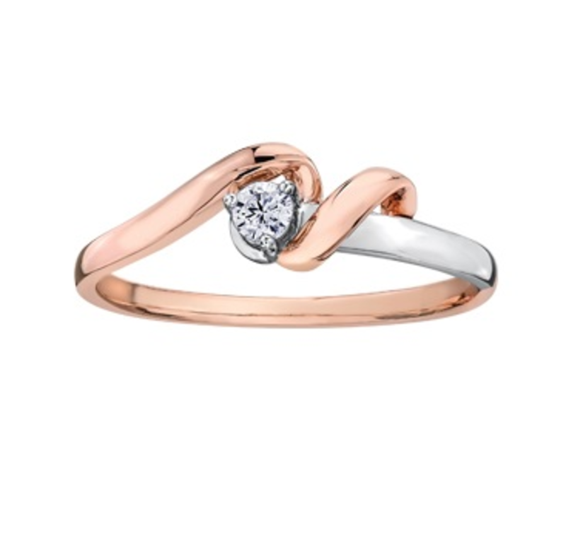 I am Canadian 10K Two Tone Rose and White Gold (0.08ct) Canadian Diamond Promise Ring