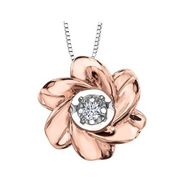 I am Canadian 10K Rose and White Gold (0.03ct) Canadian Dancing Diamond Floral Pendant