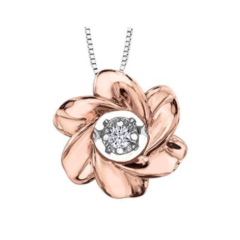 I am Canadian Rose Gold (0.03ct) Dancing Canadian Diamond Pendant