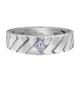 I am Canadian White Gold Mens Band with Square Canadian Diamond (0.20ct)