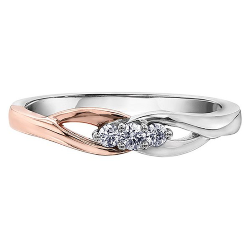 I am Canadian 10K Two Tone White and Rose Gold (0.10ct) Three Stone Canadian Diamond Promise Ring