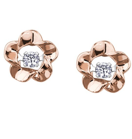 I am Canadian Rose Gold Canadian Dancing Diamond Earrings (0.093ct)