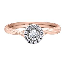 I am Canadian 10K Rose Gold (0.20ct) Canadian Diamond Halo Engagement Ring
