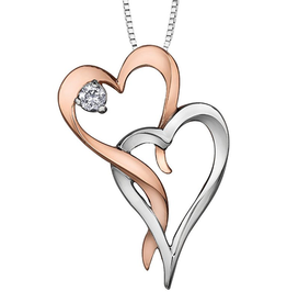 I am Canadian 10K White & Rose Gold (0.05ct) Canadian Diamond Pendant