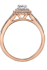 I am Canadian 10K Rose Gold Pink Passion(0.43ct) Canadian Diamond Double Halo Engagement Ring