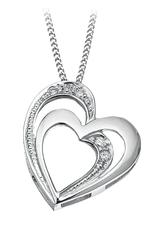White Gold (0.03cttw) Diamond Heart Pendant