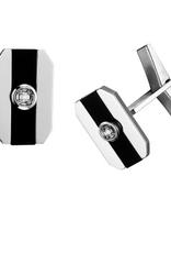 10K White Gold (0.06ct) Diamond and Black Onyx Cuff Links