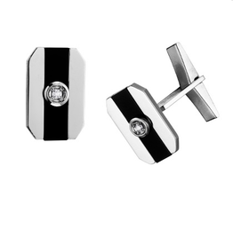 White Gold Black Onyx and Diamond Cuff Links