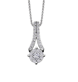 Starburst White Gold (0.35ct) Cluster Diamond Pendant