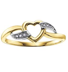 Yellow and White Gold Diamond Heart Ring  (0.03ct)