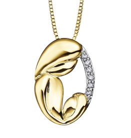 10K Yellow Gold (0.06ct) Diamond Mother and Child Pendant