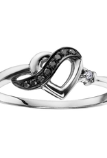 10K White Gold (0.05ct) Diamond and Black Diamonds Heart Promise Ring