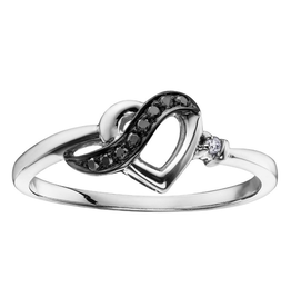 Heart Ring with Black and Clear Diamonds