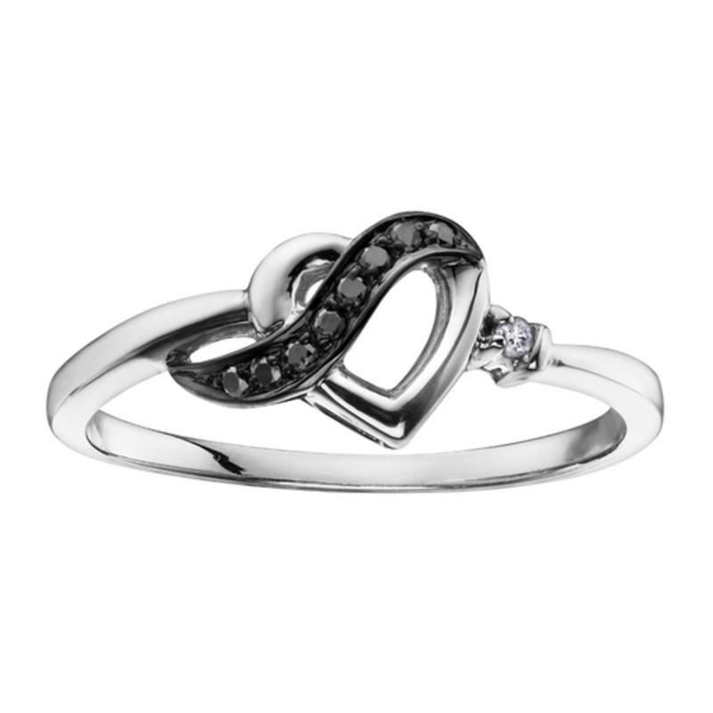 10K White Gold (0.05ct) Diamond and Black Diamonds Heart Promise Ring