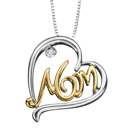 "Sterling Silver and 10K Yellow Gold (0.01ct) Diamond ""Mom"" Pendant"
