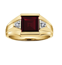 10K Yellow Gold Garnet and Diamonds Men's Ring