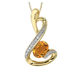 Yellow Gold Citrine and Diamond Pendant