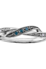 White Gold Clear and Blue Diamond Ring