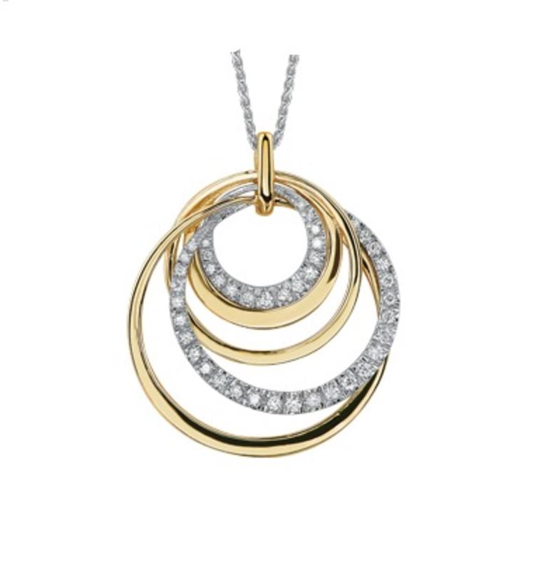 10K Yellow and White Gold Diamond Contemporary Pendant