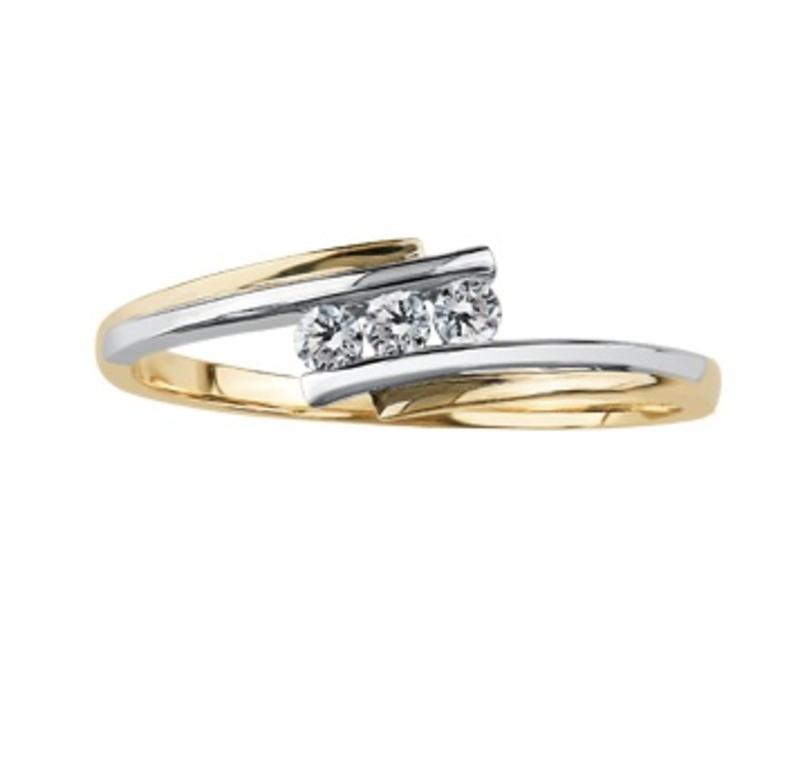 10K Two Tone Yellow and White Gold (0.10ct) Diamond Three Stone Ring