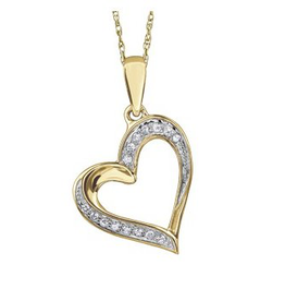 Yellow Gold (0.05ct) Diamond Heart Pendant