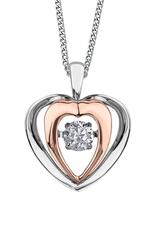 White & Rose Gold (0.15ct) Dancing Diamond Pendant