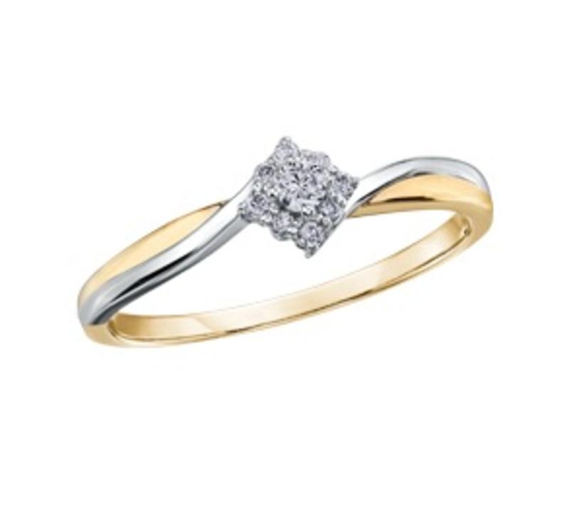 Yellow and White Gold Diamond Ring (0.09ct)