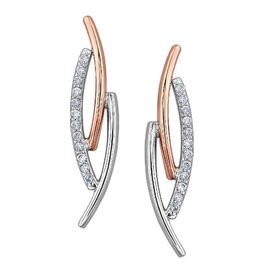 White and Rose Gold Diamond Earrings (0.075ct)