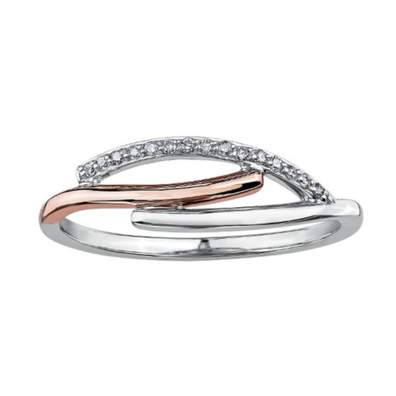 White and Rose Gold  (0.06ct) Diamond Ring