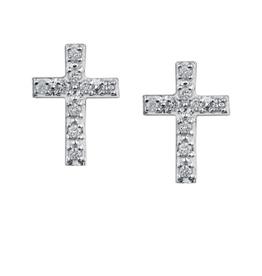 10K Yellow Gold (0.10ct) Diamond Cross Earrings