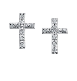 Cross Diamond (0.10ct) White Gold Earrings