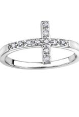 White Gold Cross Diamond Ring