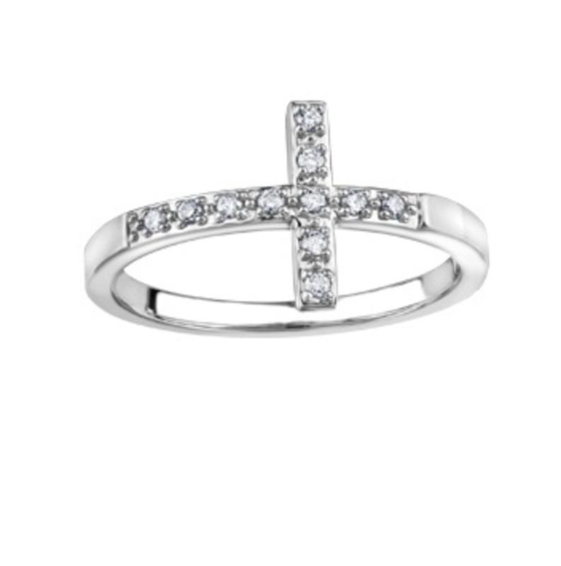 10K White Gold (0.10ct) Diamond Sideways Cross Ring