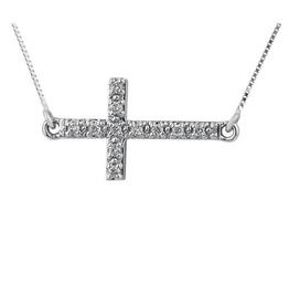 Horizontal Diamond Cross Necklace (0.10ct) 10K White Gold