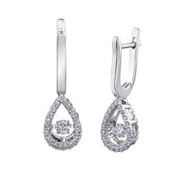 10K White Gold (0.40ct) Teardeop Dancing Diamond Dangle Earrings