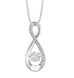 10K White Gold (0.30ct) Dancing Diamond Infinity Pendant