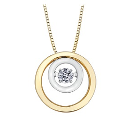 Yellow & White Gold (0.10ct) Dancing Diamond Pendant
