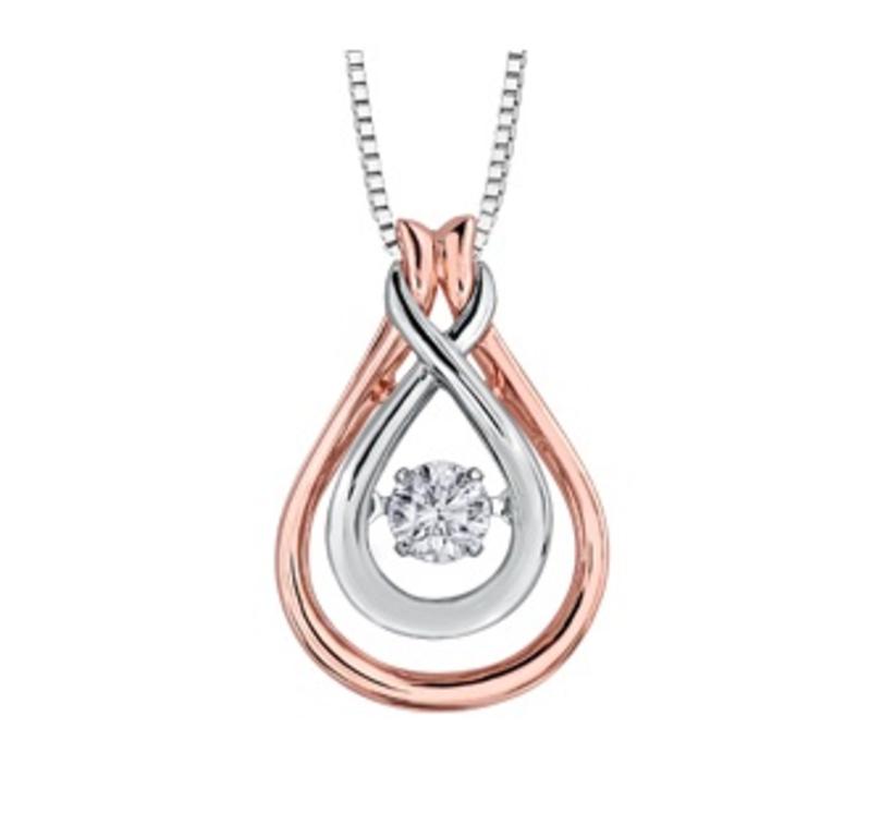 White & Rose Gold (0.20ct) Dancing Diamond Pendant