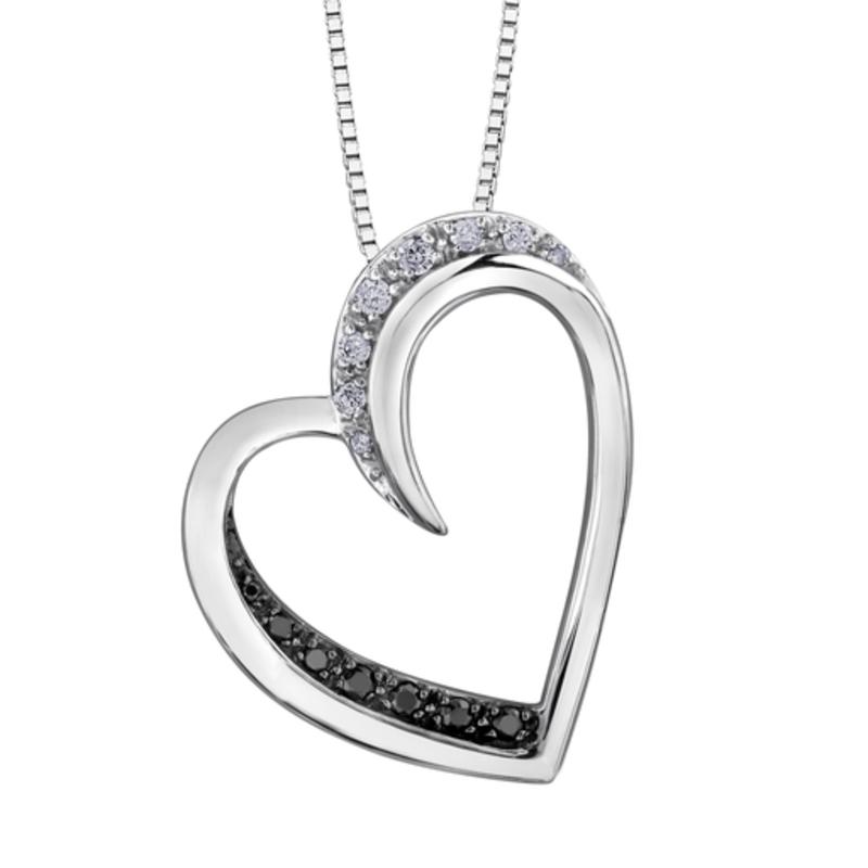 White Gold (0.09ct) Diamond and Black Diamond Pendant