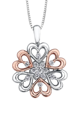 White and Rose Gold (0.15cttw) Fancy Heart Pendant