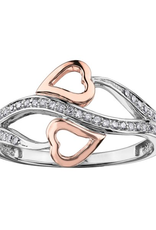 Rose and White Gold Double Heart Diamond Ring